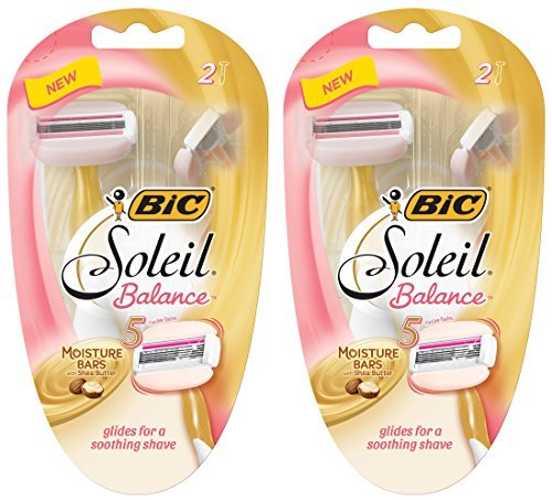 Bic Soleil Balance Razor For Women - Moisture Bars With Shea Butter - 2 Count Razors Per Package - Pack of 2 Packages (Razor Bic Soleil)