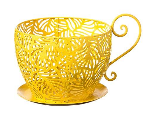 Evergreen Garden Lemon Yellow Metal Teacup Planter - 9.75