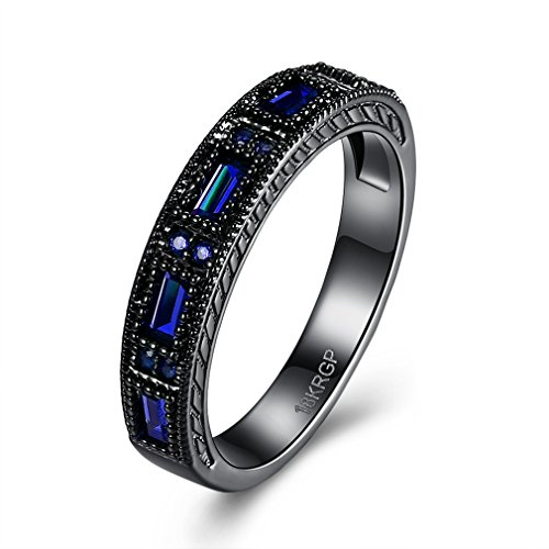 FENDINA Black Gold Ring 18K Womens Blue Sapphire Crystal Jewelry Wedding Band Engagement Rings (Custom Costumes In Edmonton)