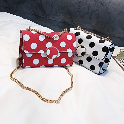 punto moda nero Sacchetto catena selvaggia spalla della borsa borsa singola personalità versione piazza femminile coreana marea piccola Messenger bianco WSLMHH nqdYRH47w7