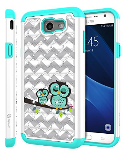 Galaxy J7 V Case, Galaxy J7 Perx / J7 Sky Pro / J7 Prime/Halo / J7 2017 Case, Style4U [Shockproof] Cute Owl Studded Rhinestone Crystal Bling Hybrid Armor Protective Case + 1 Stylus [White/Teal]