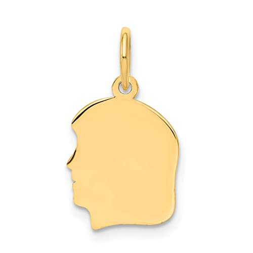 14k Yellow Gold Solid Polished Engravable Girl Charm