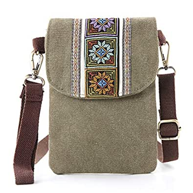 Vintage Embroidered Canvas Small Flip Crossbody Bag Cell Phone Pouch for Women Wristlet Wallet Bag Coin Purse Green Size: Size Basic