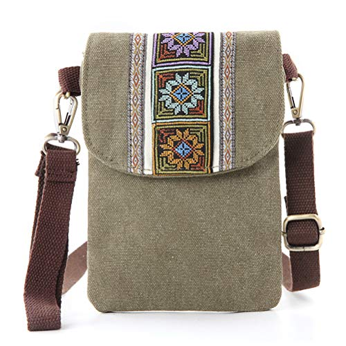 - Vintage Embroidered Canvas Small Flip Crossbody Bag Cell Phone Pouch for Women Wristlet Wallet Bag Coin Purse (ArmyGreen 01)