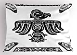 Lunarable Eagle Pillow Sham, Tattoo Art Design Inspired by Primitive Cultures Mexican Peruvian Heritage Totem, Decorative Standard King Size Printed Pillowcase, 36 X 20 inches, Black and White