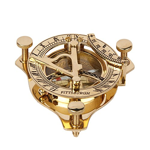 aheli Classic Brass Pocket Compass Maritime Great for Hiking, Camping, Motoring, Boating, Backpacking - Nautical Navigational Device