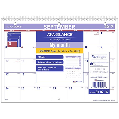 "AT-A-GLANCE Desk / Wall Calendar, September 2017 - December 2018, 11"" x 8"", Mini Style, Wirebound (SK1616)"