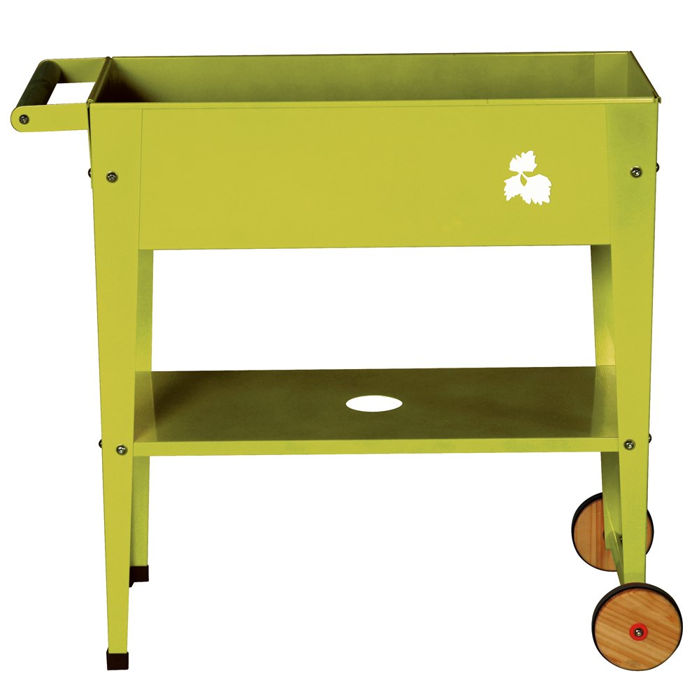 Pflanztrolley / Hochbeet 75x35x80 cm mit Rollen in Farbe Lime Green
