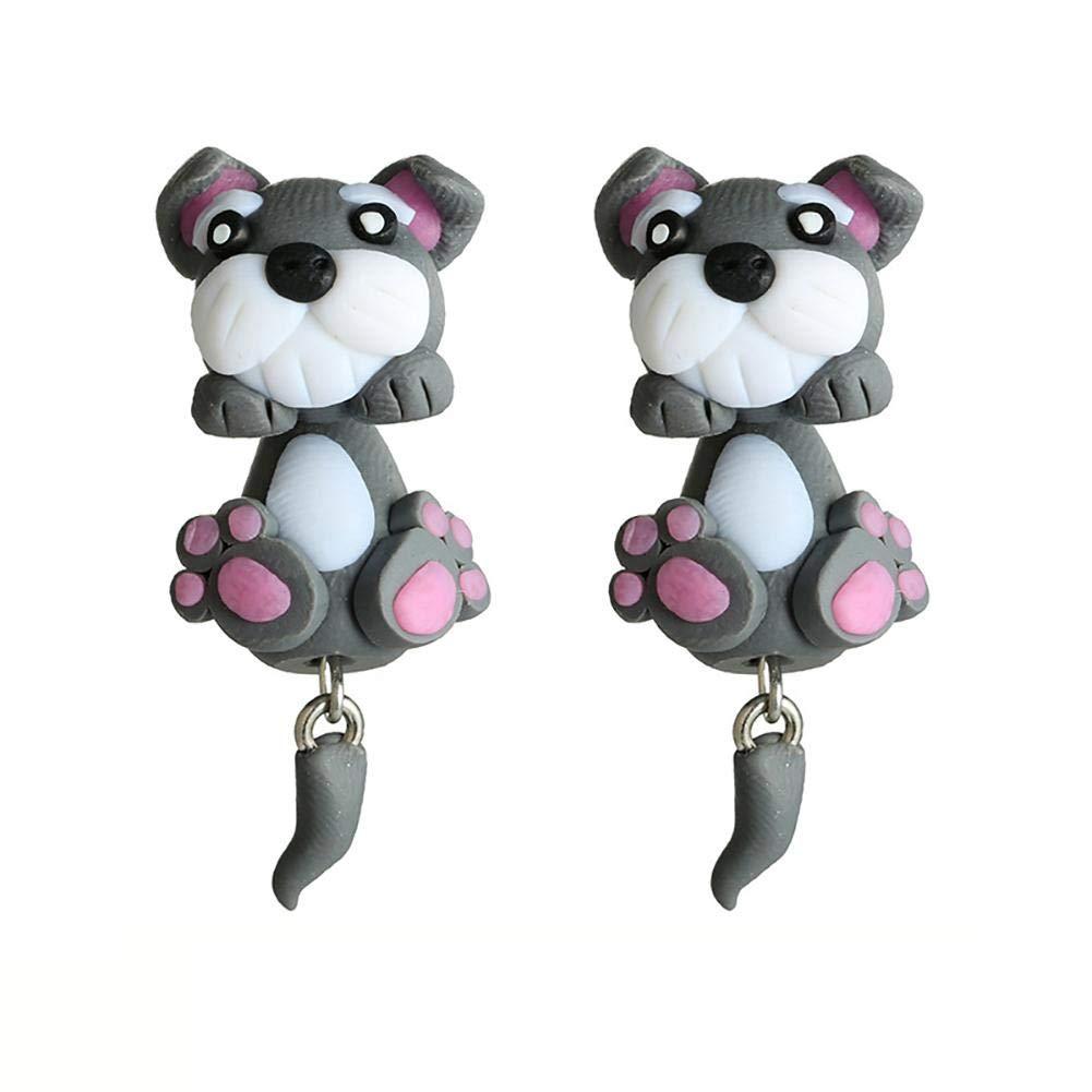 Long 3.7cm Doitsa 2pcs Cute Pendientes Creativo Graciosos Aretes de Cachorro Dibujos Animados Pendientes de Joyer/ía para Mujer Ni/ña y Ni/ño