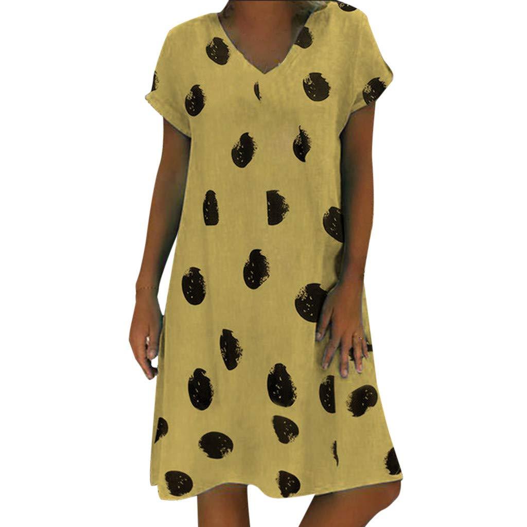 Clothful  Women Dress, Women Casual Summer Print V-Neck Short Sleeve T-Shirt Dress Mini Dress Yellow by Clothful (Image #1)