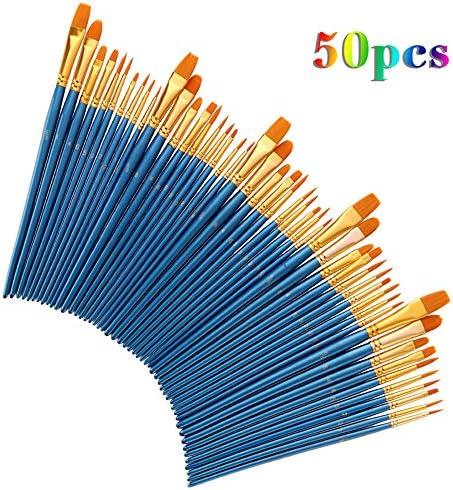アクリルペイントブラシセット、 SZRP 50本のペイントブラシセット、 多機能ナイロンヘアブラシセット、 水彩、アクリル、油絵、ボディペインティングで一般的に使用されます