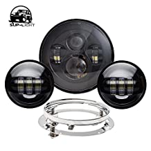 Black Harley Daymaker 7 Inch LED Round Headlight with Matching Black 4.5 Inch LED Passing Lamps Fog Lights with Adapter Ring for Harley Davidson Motorcycles