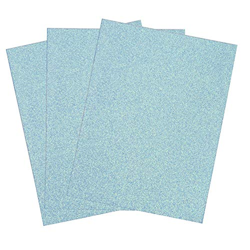 SIMPLY ELEGANT Eva Foam Glitter Sheets w/Adhesive Back - Blue - 24 Count
