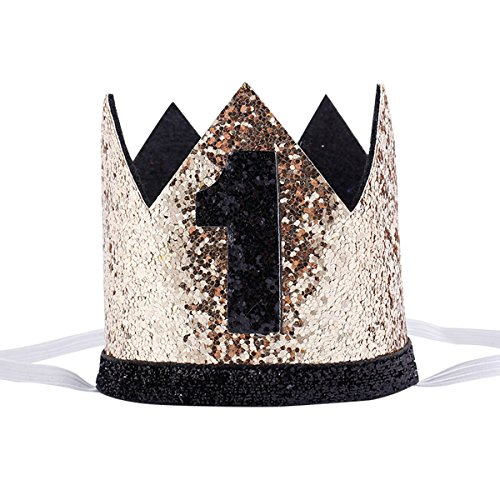 Maticr Glitter Baby Boy Girl First Birthday Crown Number 1 Headband Little Prince Princess Cake Smash Photo Prop (Tiny Gold & Black 1)]()