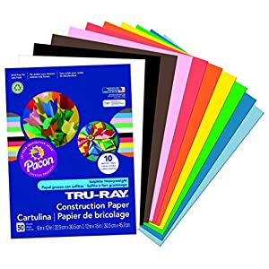 Tru-Ray Construction Paper P103031,  9″ x 12″, Standard Assorted Colors, 50 Sheets