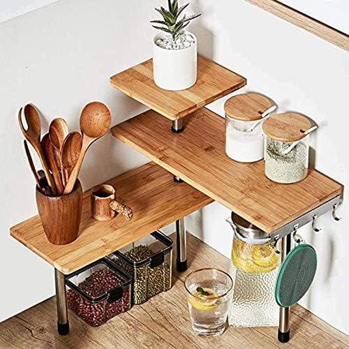 HYNAWIN 3 Tier Corner Shelf Bamboo & Metal Storage Spice Rack-Desk Bookshelf Display Shelves Space Saving Organizer -Adjustable Rack for Kitchen,Bedroom, Office-Creative Home Décor with Hooks