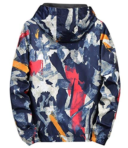 Camouflage Energy Dark Sides Both Jacket Print Hooded Blue Wear Mens Graffiti Outwear Zipper wqwYrP