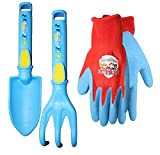 Nickelodeon Paw Patrol Kids Combo Pack of Trowel, Cultivator & Gripper Gloves, PWP1601, Size: Kids