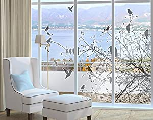Amazoncom Window Sticker Branches And Birds In Autumn Window - Bird window stickers amazon