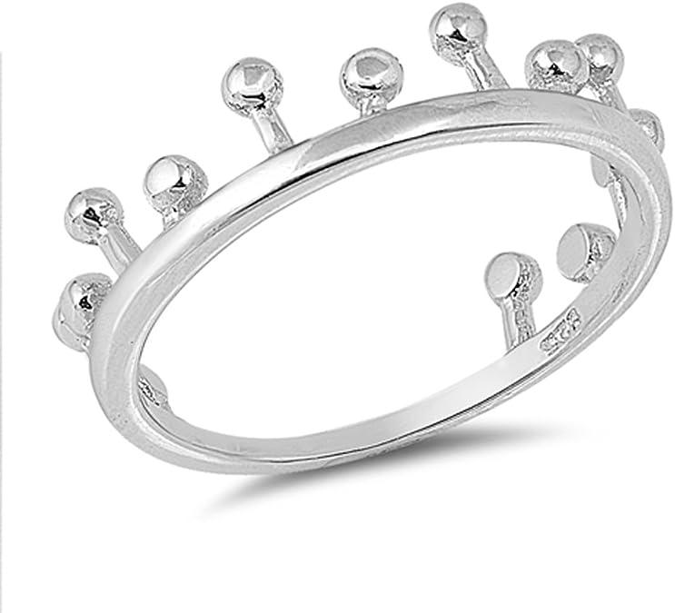 Ball Bead Crown Princess Royal Ring New .925 Sterling Silver Band Sizes 4-10