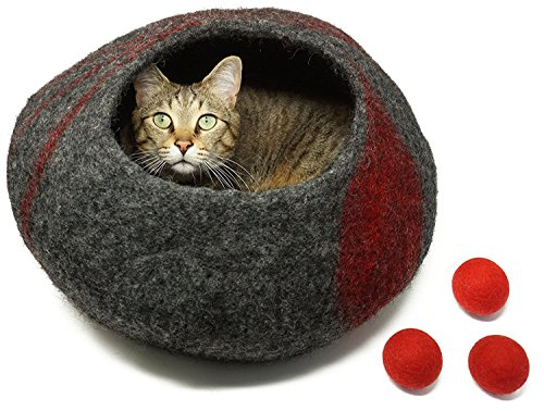 CatCatCat Premium Quality Cat Cave Bed Plus 3 Free Wool Ball Cat Toys, 100% Wool and Handcrafted, Comfy Bed for Cats and Kittens, Red, (Large Caterpillar)