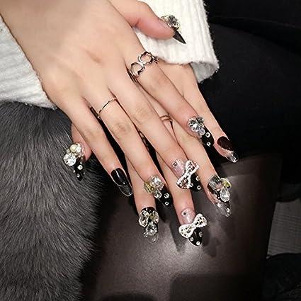 echiq diseño de 3d uñas postizas lazo grande piedras falsas uñas largo negro transparente estilo francés