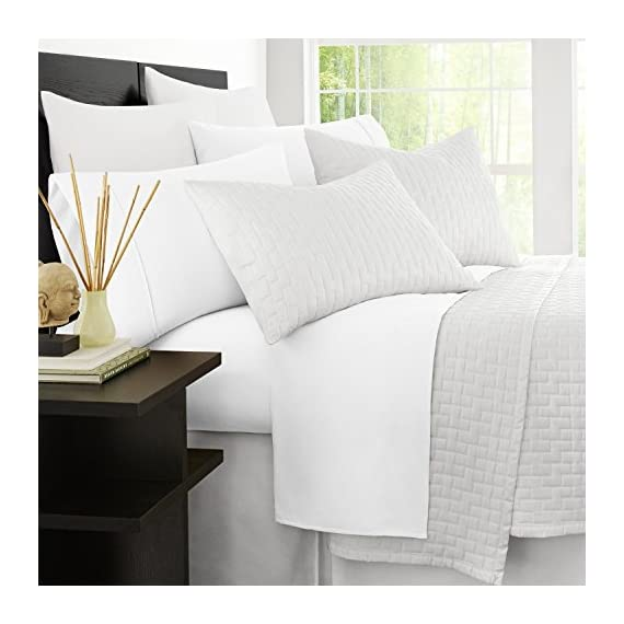 Zen Bamboo 1800 Series Luxury Bed Sheets - Eco-Friendly, Hypoallergenic and Wrinkle Resistant Rayon Derived from Bamboo - 4-Piece - Queen - White - LUXURY & COMFORT - Slip into comfort! The Zen Bamboo 4-Piece Bamboo Blend Sheet Set is exactly what you need for a comfortable and relaxing night's sleep. Our sheet set is not only ultra-soft and luxurious, but stylish as well. With a wide range of colors to choose from, there's something for everyone! HIGH QUALITY BRUSHED BAMBOO & MICROFIBER BLEND - Our sheets are crafted with the highest quality materials, making them comfortable and durable! Designed with a sumptuous blend of 40% rayon derived from bamboo and 60% brushed microfiber, our sheets are incredibly plush and more durable than standard cotton sheets. HYPOALLERGENIC & STAIN RESISTANT - Our sheets are hypoallergenic, stain resistant, fade resistant, and wrinkle resistant. Say goodbye to dust mites, wrinkles, and tedious tasks like ironing, and hello to cozy, soft, and comfortable bedding! - sheet-sets, bedroom-sheets-comforters, bedroom - 514EKDyTmYL. SS570  -