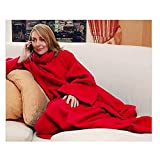 Sherpa Blanket Lightweight Soft Warm with Sleeves Arms Large Fleece Micro Plush Sleeved TV Throws Wrap Robe Blanket for Adult Women and Men (Red)