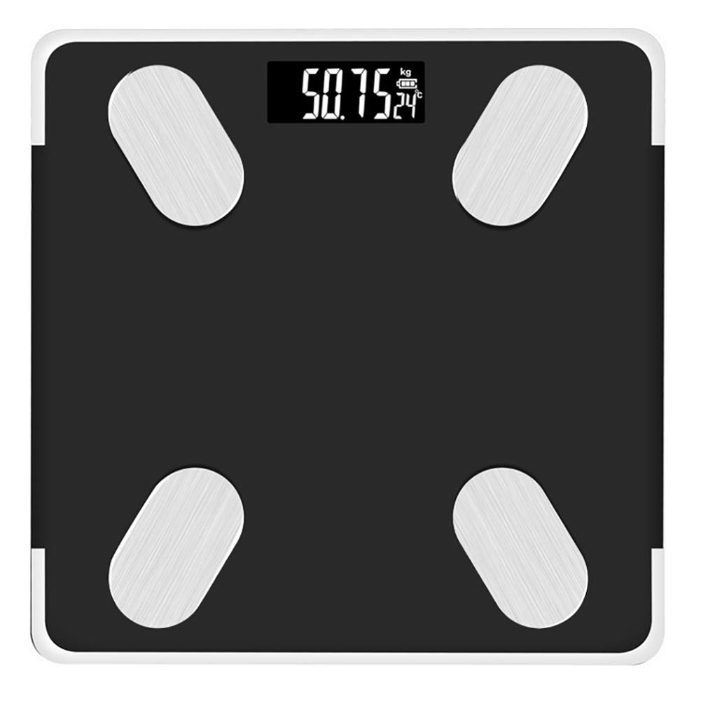 Bluetooth Body Fat Scale Smart Scale Digital Bathroom Wireless Weight Scale, G-shaped sensor, Body Composition Analyzer With Smartphone Lcd Display, 180kg, 26 25cm,Black