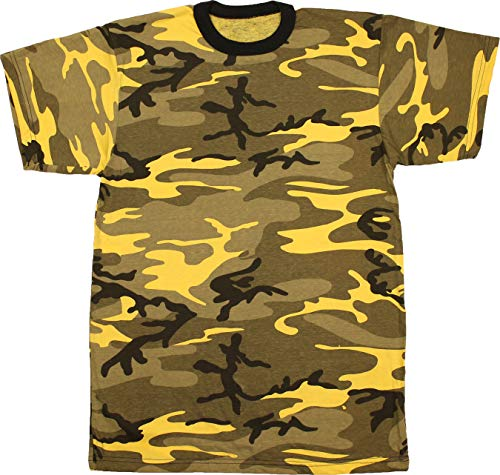 Army Universe Yellow Camouflage Short Sleeve T-Shirt Pin - Size Small (33
