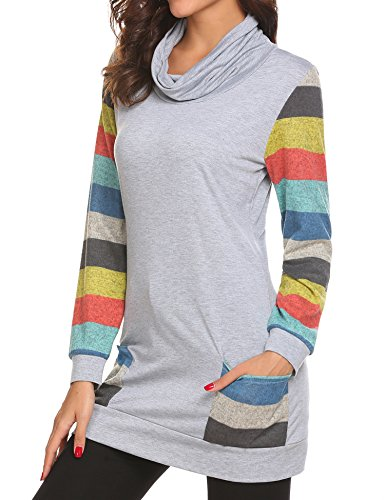 Womens Rainbow Cotton Knitted Long Sleeve Turtle Neck Casual Slim Fit Tunic Tops Sweatshirts With Pockets