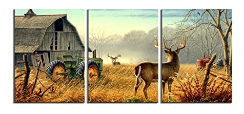 Canvas Print Wall Art Painting pictures of Nature Trees Fences Birds Fog Mist Deer Barn Farm Competition Paintings The Picture For Living Room Decoration Animals Pictures Photo Prints On Canvas (Sale Framed Bird Prints For)