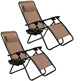 Goplus Zero Gravity Chairs, Lounge Patio, Folding Recliner, Outdoor Yard Beach with Cup Holder, Brown, 2 Piece Review