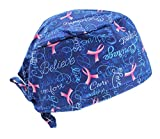 Hiphopville Royal Blue Believe Pink Ribbon Cancer Scrub Cap Hat