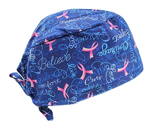 Hiphopville Royal Blue Believe Pink Ribbon Cancer Scrub Cap Hat ()