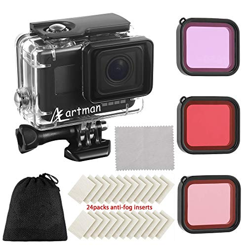 Artman Housing Case Filter Kit for GoPro Hero 7 Hero 6 Hero 5 Black, Waterproof Case Diving Protective Housing Shell + 3 Pack Filter + 24 Anti-Fog Insert + Bracket Accessories