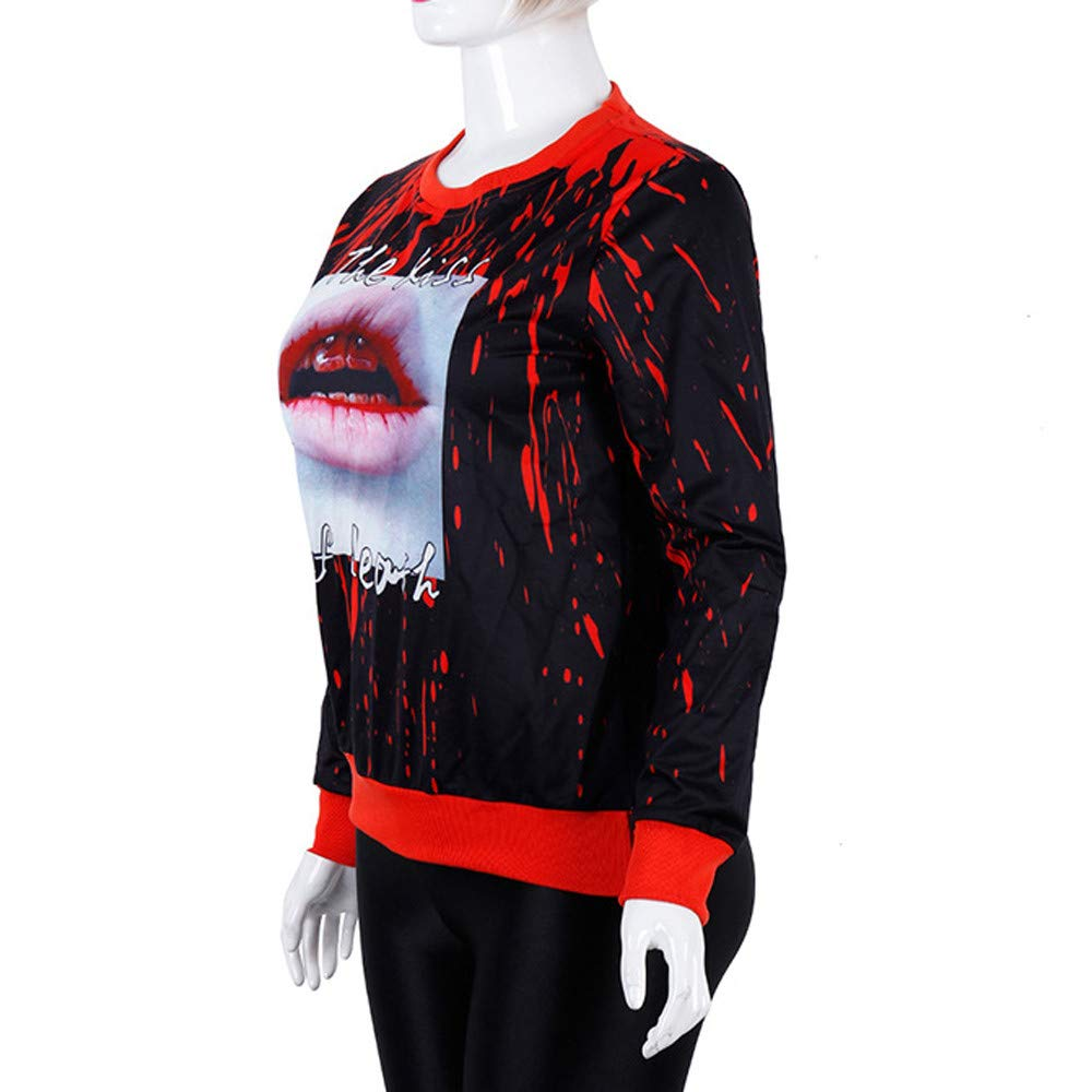Mujer De Halloween Moda,BBestseller Labios Gota de Sangre Imprimir Sudadera con Capucha De Manga Larga Camiseta Camisa Superior Blusas de Mujer: Amazon.es: ...