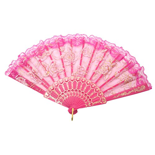 TrendBox Elegant Vintage Retro Flower Rose Lace Handheld Chinese Folding Fan For Dancing Ball Parties Ladies - Hot Pink (Pink Flowers Retro)