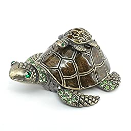 Lehris, Mom and Baby Turtle Trinket Jewelry Box with Sparkling Light Green Crystals