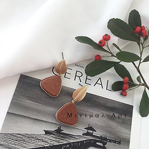 usongs /Minimalist small leaves triangular star sand retro caramel literary fashion earrings earrings