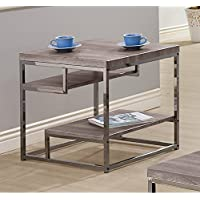 Coaster Modern Dark Grey End Table with Chrome Frame and 2 Shelves
