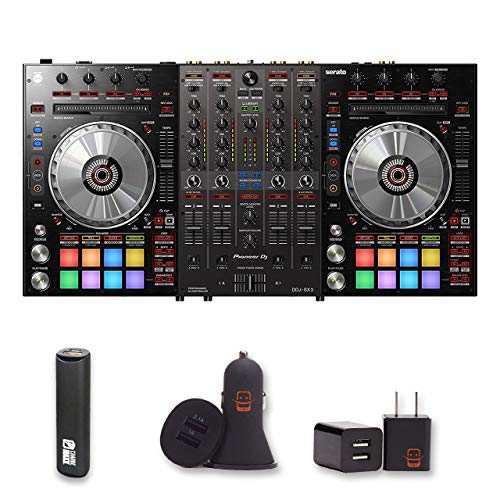 Turntable Controller Software (Pioneer DJ (DDJ-SX3) DJ Controller + 1 Year Extended Warranty, PowerBank, USB Car Charger, USB Wall Charger, EZEE Bundle)
