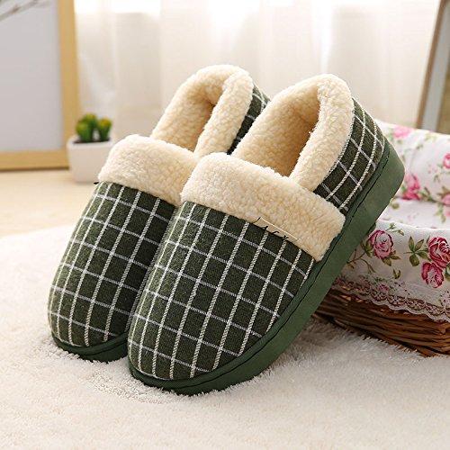 LaxBa Femmes Hommes Chaussures Slipper antiglisse intérieur vert foncé 35/36