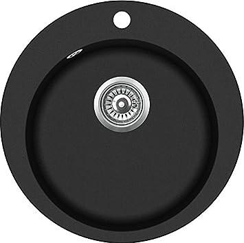 schwarze Küchenspüle einzige runden Einbauspüle 55cm Durchmesser ...