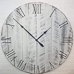 Large Wood Wall Clock - 42 Inch Diameter - White with black undertones - Battery Operated
