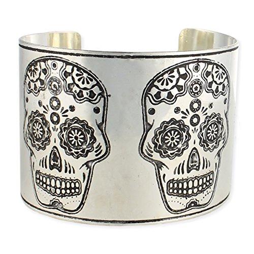 Calavera Sugar Skull Etched Day of the Dead Silver Tone Cuff Bracelet