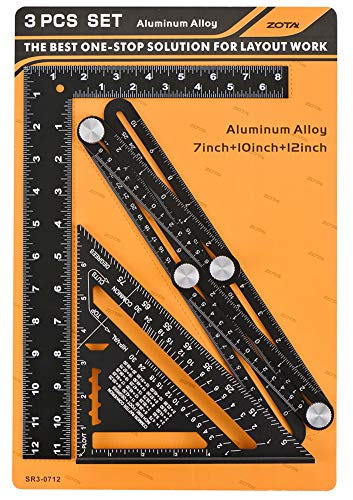 3 in 1 Angle Template Tool Kit, ZOTA Multi Angle Measuring Ruler,7-inch Rafter Square, 12-inch Framing Square, Heavy Duty Aluminum Alloy with Laser Etched Markings ()