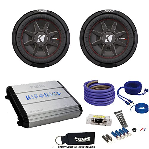 "10"" CompRT Subwoofers & Hifonics ZXX-1200.1D Zeus 1200 Watt Amplifier & Wiring Kit ()"