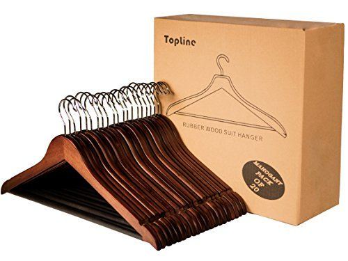 Topline Classic Wood Suit Hangers - 20 Pack (Mahogany Finish)
