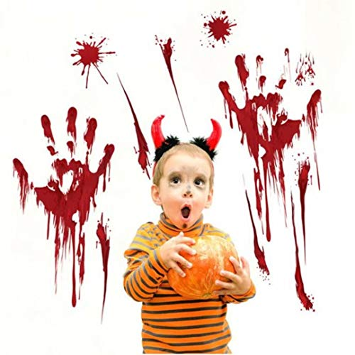 CARDEON 1pc Halloween Bloody Handprints Footprints Window Floor Clings Decals Bloody Skull Wall Stickers For Halloween Vampire Zombie Party Decoration Supplies 30cmX45cm]()